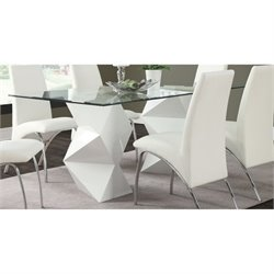 Bowery Hill Contemporary Glass Top Dining Table in White