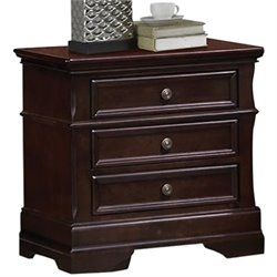 Bowery Hill 3 Drawer Nightstand in Dark Cherry