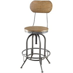 Bowery Hill Adjustable Rustic Bar Stool in Brown