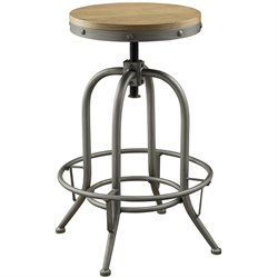 Bowery Hill Adjustable Round Bar Stool in Brown