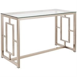 Bowery Hill Contemporary Glass Top Console Table in Satin Nickel