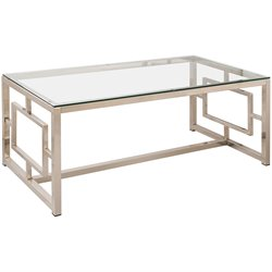 Bowery Hill Contemporary Metal Coffee Table in Satin Nickel