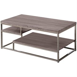 Bowery Hill Weathered Coffee Table in Dark Gray and Chrome