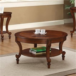 Bowery Hill Round Coffee Table with Curved Legs in Warm Brown
