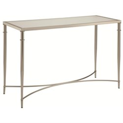 Bowery Hill Metal and Glass Console Table in Nickel