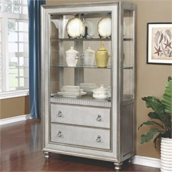Bowery Hill 3 Drawer 2 Shelf Curio Cabinet in Metallic Platinum