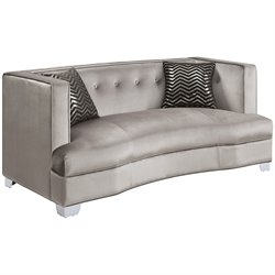 Bowery Hill Fabric Loveseat in Silver