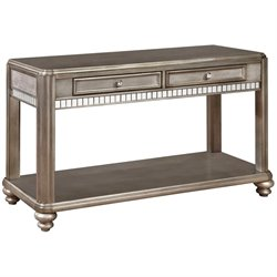 Bowery Hill Storage Console Table in Metallic Platinum