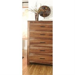 Bowery Hill 5 Drawer Chest in Natural Brown