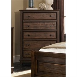 Bowery Hill 5 Drawer Chest in Cocoa Brown