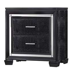 Bowery Hill 2 Drawer Rhinestone Hardware Nightstand in Black
