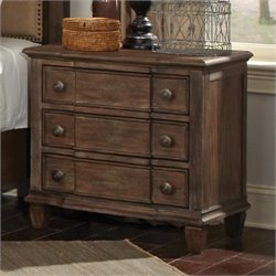 Bowery Hill 3 Drawer Nightstand in Wire Brushed Mushroom