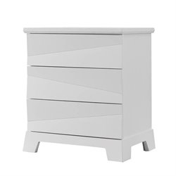 Bowery Hill 3 Drawer Nightstand in White