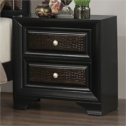 Bowery Hill 2 Drawer Nightstand in Rubbed Black