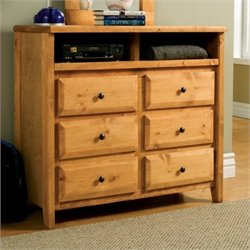 Bowery Hill 6 Drawer Media Chest in Amber Wash