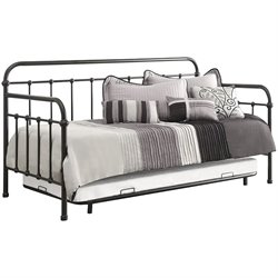 Bowery Hill Twin Metal Daybed with Trundle in Dark Bronze