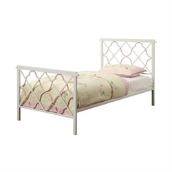 Bowery Hill Metal Bed with Headboard and Footboard in White
