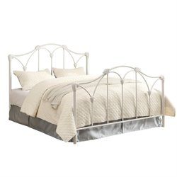 Bowery Hill Metal Bed with Headboard in White