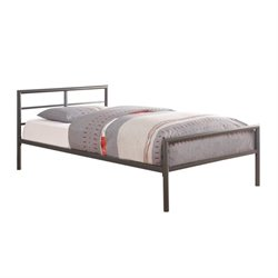 Bowery Hill Twin Metal Bed in Gunmetal