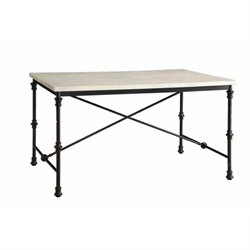 Bowery Hill Faux Marble Top Dining Table in Antique Brown