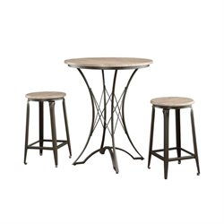 Bowery Hill 3 Piece Round Pub Set in Black