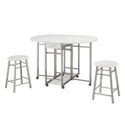 Bowery Hill 3 Piece Pub Set in White