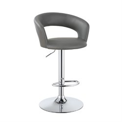 Bowery Hill Adjustable Bar Stool in Gray and Chrome