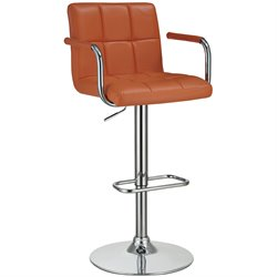 Bowery Hill Adjustable Bar Stool in Orange