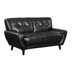 Bowery Hill Faux Leather Loveseat in Black