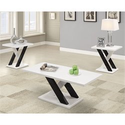 Bowery Hill 3 Piece Coffee Table Set in White