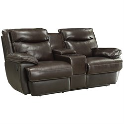 MER-757 Bowery Hill Leather Reclining Love Seat with Storage in Brown