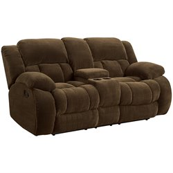 Bowery Hill Motion Reclining Loveseat in Brown