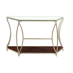 Bowery Hill Glass Top Metal Console Table in Champagne