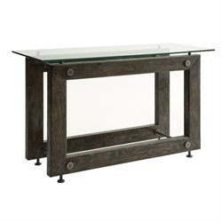 Bowery Hill Glass Top Console Table in Brown