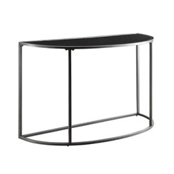 Bowery Hill Glass Top Console Table in Black and Gunmetal