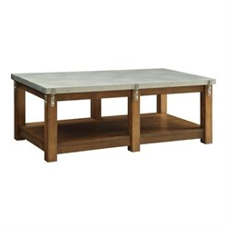 Bowery Hill Metal Top Coffee Table in Amber