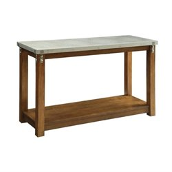 Bowery Hill Metal Top Console Table with Shelf in Amber
