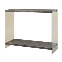 Bowery Hill Glass Side Console Table in Gray