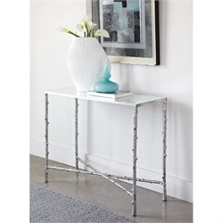 Bowery Hill Glass Top Console Table in Silver