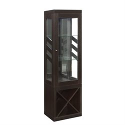 Bowery Hill Wine Rack Curio Cabinet with Wine Rack in Cappuccino