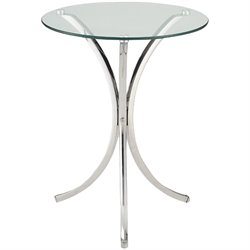 Bowery Hill Round Glass Top End Table in Chrome