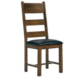 Bowery Hill Ladder Back Solid Wood Dining Chair in Dark Brown