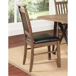 Bowery Hill Faux Leather Dining Chair in Black and Rustic Taupe