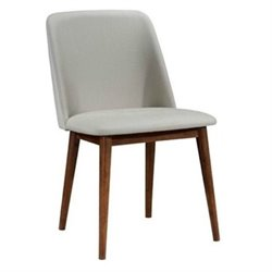Bowery Hill Modern Dining Chair in Gray and Dark Walnut