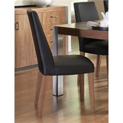 Bowery Hill Faux Leather Dining Chair in Black and Brown