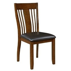 Bowery Hill Slat Back Faux Leather Dining Chair in Truffle