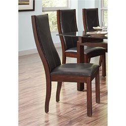 Bowery Hill Faux Leather Upholstered Curved Back Dining Chair in Black