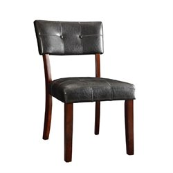 Bowery Hill Faux Leather Dining Chair in Dark Brown