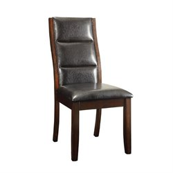 Bowery Hill Faux Leather Dining Chair in Black and Cappuccino