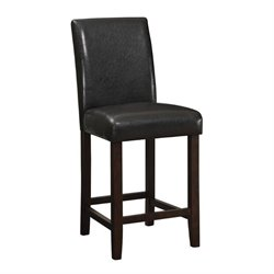 MER-757 Bowery Hill Faux Leather Upholstered Stool in Walnut